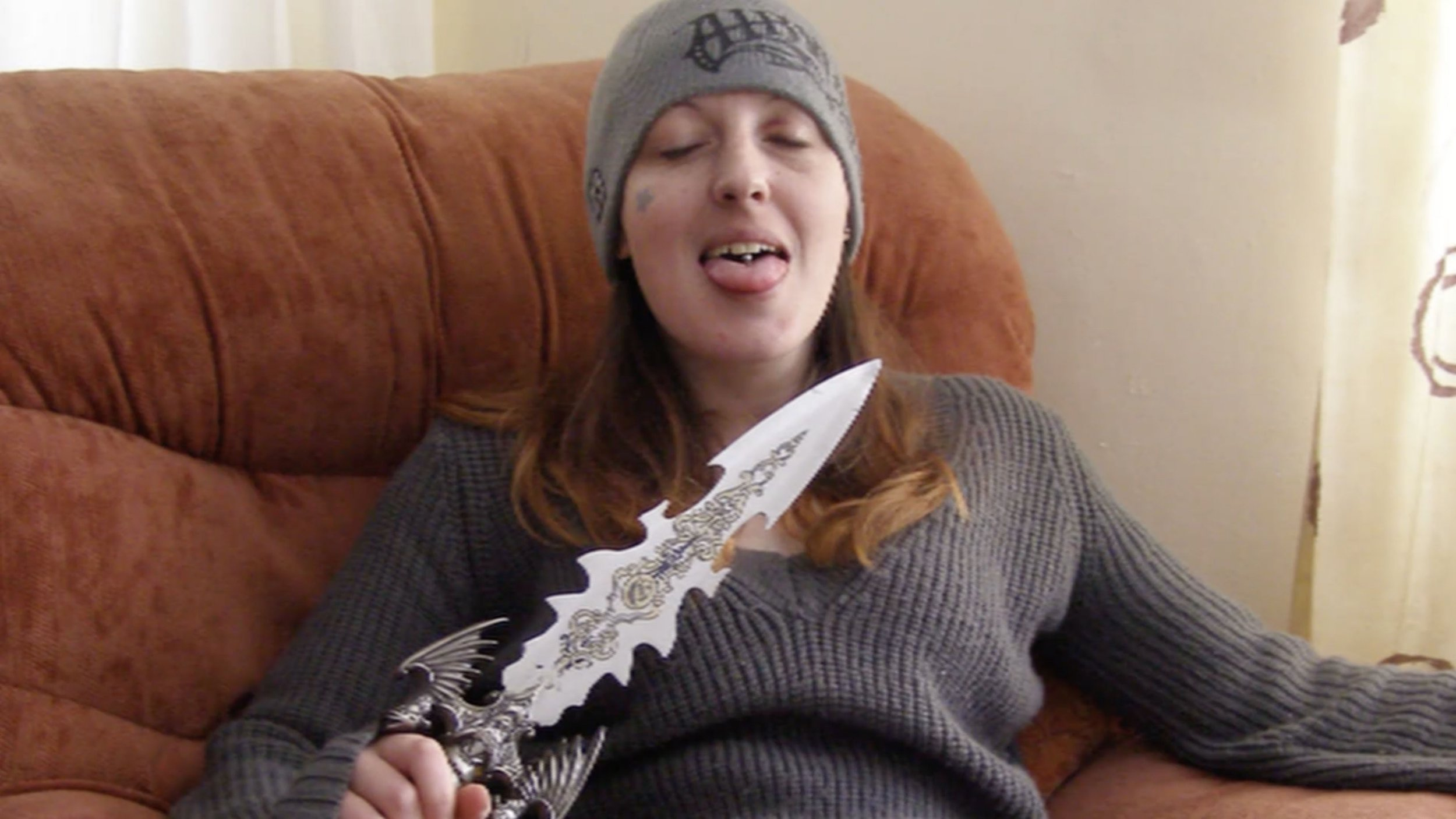 From ITN Productions JOANNE DENNEHY: SERIAL KILLER Thursday April 18th 2019 on ITV Pictured: Police picture of Joanne Dennehy holding a huge knife In this new documentary in ITV?s Crime & Punishment strand, Susanna Reid gains exclusive access to police evidence from the investigation into one of Britain?s most notorious serial killers, Joanne Dennehy, who murdered three men on a killing spree. Over two weeks in 2013, 30-year-old Dennehy murdered three men and attempted to kill two others. At trial, she showed no remorse for her victims, and became one of only three British women ever to be sentenced to spend the rest of her life behind bars. Five years on from Dennehy?s conviction, Susanna Reid speaks to the lead detective, the father of her two children, family members of victims, a man who was present when two of the attacks took place, school friends and experts to paint a picture of how an intelligent and privileged young girl transformed into a dangerous, bloodthirsty psychopath. (C) ITN Productions For further information please contact Peter Gray 0207 157 3046 peter.gray@itv.com This photograph is ? ITV and can only be reproduced for editorial purposes directly in connection with the programme JOANNE DENNEHY: THE MAKING OF A SERIAL KILLER or ITV. Once made available by the ITV Picture Desk, this photograph can be reproduced once only up until the Transmission date and no reproduction fee will be charged. Any subsequent usage may incur a fee. This photograph must not be syndicated to any other publication or website, or permanently archived, without the express written permission of ITV Picture Desk. Full Terms and conditions are available on the website https://www.itv.com/presscentre/itvpictures/terms