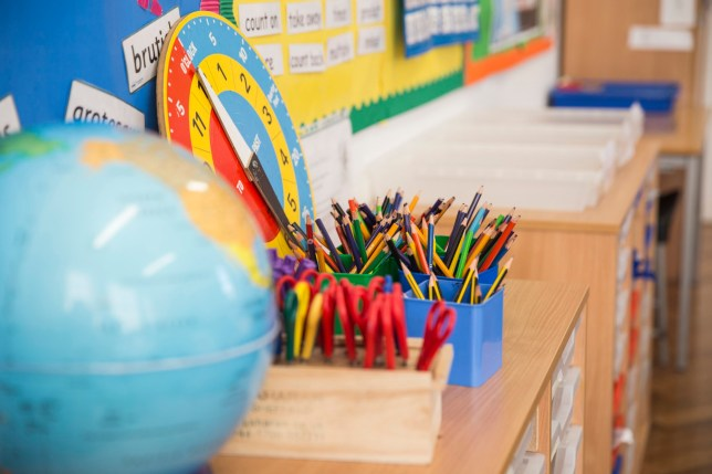 Learning equipment on the desk in classroom.