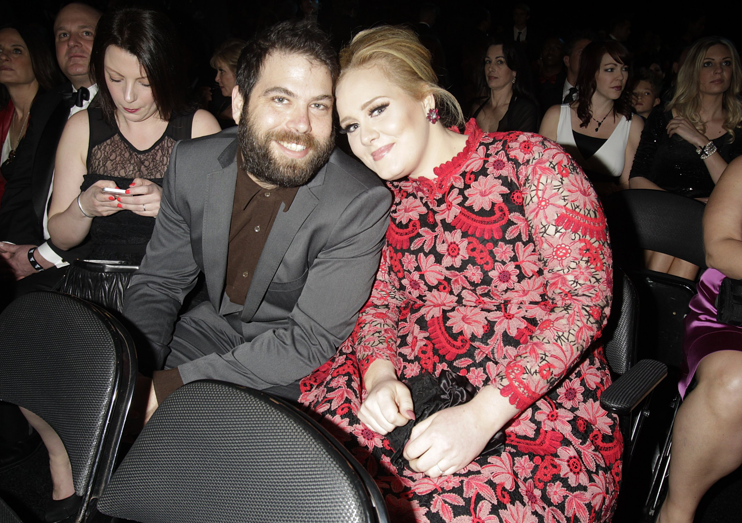 Adele and Simon Konecki are seen in a assembly during a 55th Annual Grammy Awards on Feb 10, 2013 in Los Angeles, California. CBS/Francis Specker /Landov