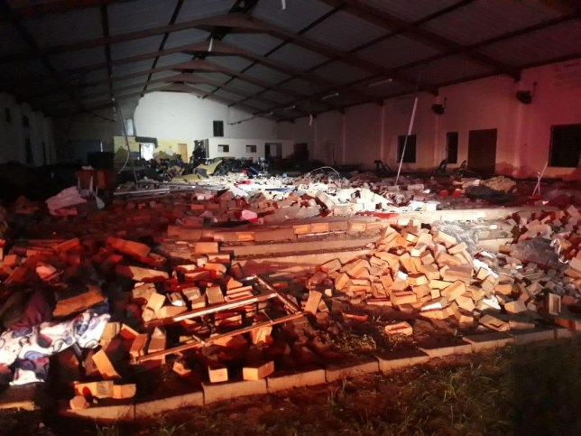 @_ArriveAlive Johannesburg, April 19, 2019 (AFP) - Thirteen people were killed and 16 injured when part of a church collapsed on worshippers following a violent storm near the eastern South African city of Durban, officials said Friday. The accident happened late Thursday when a brick wall under a makeshift roof collapsed during a service at a Pentecostal church, a converted hangar, in the town of Ndlangubo, north of Durban, in KwaZulu-Natal province. https://twitter.com/_ArriveAlive/status/1119100858614960129