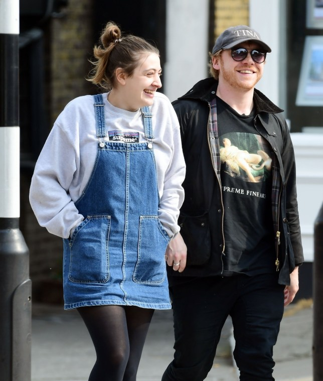 BGUK_1552680 - *EXCLUSIVE* London, UNITED KINGDOM - *PREMIUM-EXCLUSIVE* - NOT AVAILABLE FOR ONLINE USAGE UNTIL 22:10 PM UK TIME ON 21/04/2019 - WEB MUST CALL FOR PRICING - Harry Potter actor Rupert Grint and long time girlfriend Georgia Groome pictured out enjoying lunch together and both sporting wedding bands. The loved up couple were out with friends having a great time at a very village themed looking pub in plush Highgate, North London. Is it possible that the our beloved Harry Potter's Ron Weasley has got married in secret?? *PICTURES TAKEN ON 17/04/2019* Pictured: Rupert Grint and Georgia Groome BACKGRID UK 21 APRIL 2019 BYLINE MUST READ: NASH / BACKGRID UK: +44 208 344 2007 / uksales@backgrid.com USA: +1 310 798 9111 / usasales@backgrid.com *UK Clients - Pictures Containing Children Please Pixelate Face Prior To Publication*