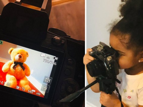 Three-year-old photographer takes her photoshoots with stuffed bear and Ant-man toy very seriously