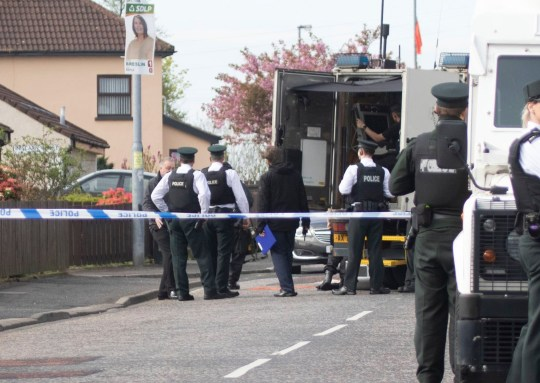 Police in attendance at Iniscarn Road in Londonderry where a suspect device was found at the home of independent councillor Gary Donnelly. PRESS ASSOCIATION Photo. Picture date: Sunday April 21, 2019. See PA story ULSTER Unrest. Photo credit should read: Joe Boland/PA Wire