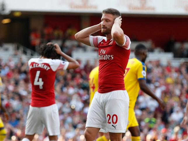 Shkodran Mustafi was at fault for all three goals Arsenal conceded against Crystal Palace