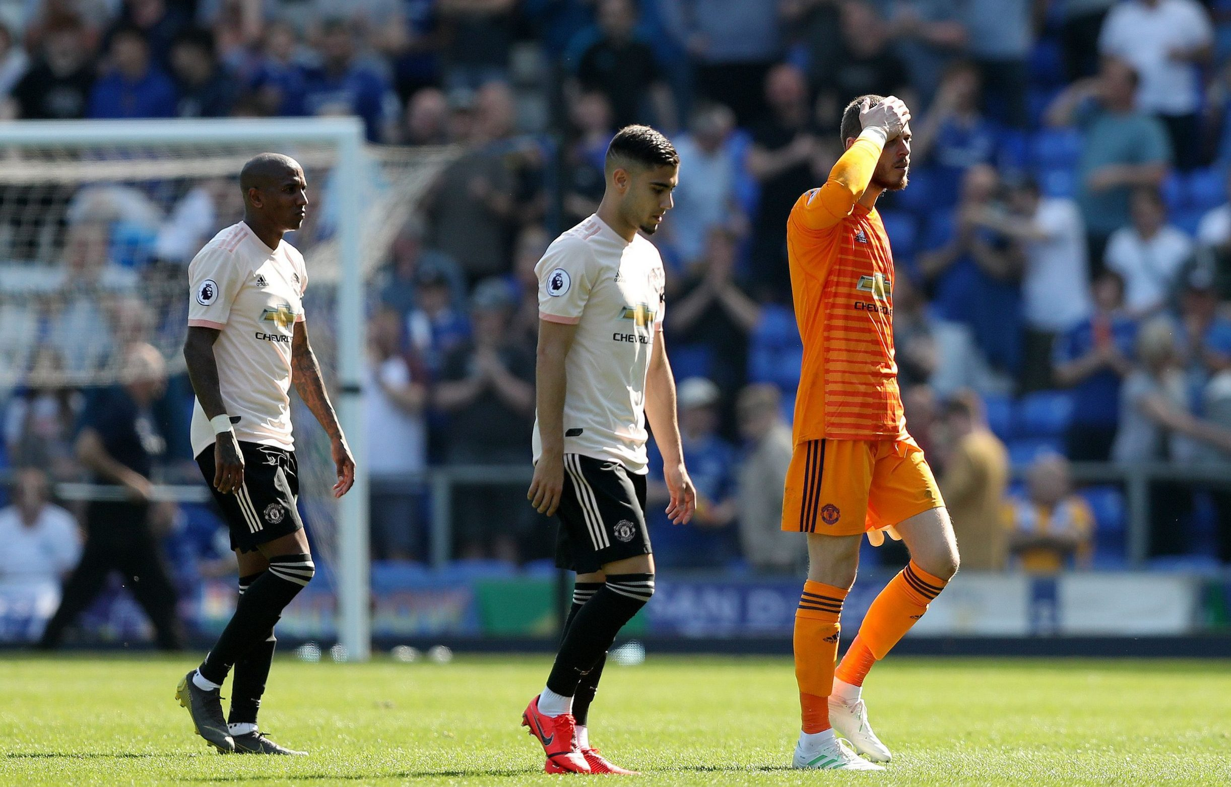 Manchester United goalkeeper David De Gea shows a look of dejection as he leaves the pitch at full time Everton v Manchester United, Premier League Football, Goodison Park, Liverpool, UK - 21 Apr 2019