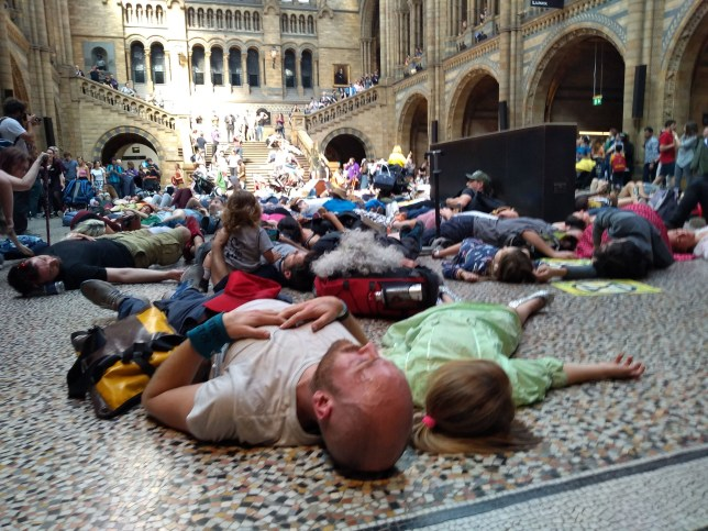 Extinction Rebellion protestors lying down inside the Natural History Museum in London. PRESS ASSOCIATION Photo. Picture date: Monday April 22, 2019. See PA story ENVIRONMENT Climate. Photo credit should read: Laura Parnaby/PA Wire