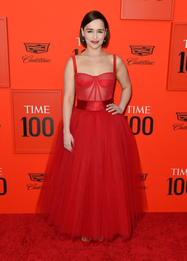 British actress Emilia Clarke arrives on the red carpet for the Time 100 Gala at the Lincoln Center in New York on April 23, 2019. (Photo by ANGELA WEISS / AFP)ANGELA WEISS/AFP/Getty Images