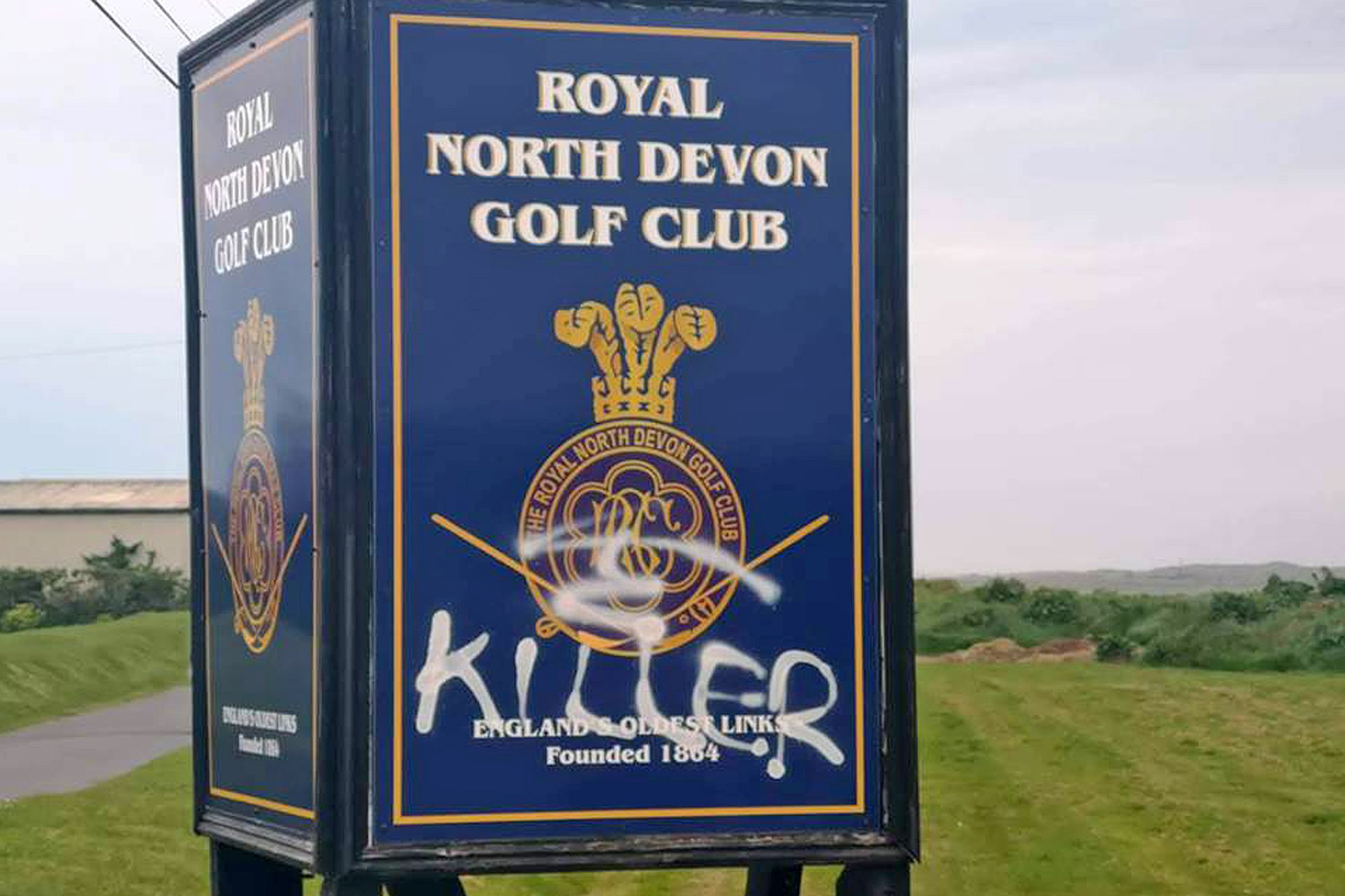 """PIC: ROYAL NORTH DEVON GOLF CLUB/APEX 24/04/2019 England's oldest golf club has been vandalised by animal activists. Pictures of piles of rubble dumped on what was believed to be a badger sett at the Royal North Devon Golf course were posted to Facebook. Dee Owen, who posted the pictures, alleged the club had illegally blocked the entrances to a badger's sett on their land at Westward Ho! near Bideford. But the club have claimed this was not the case - and have suffered vandalism as a result of the """"incorrect claims"""". Dee Owen said the RSPCA and police had been contacted about the incident. And in an update to her original post, she added: """"It would appear the club have blocked one recently used entrance and that the badgers may have moved out and the club are trying to prevent their return."""" But the Royal North Devon Golf Club took to Facebook this morning to rebut the claims. A spokesman said: """"Royal North Devon is a golf club which prides itself on being part of an area of outstanding natural beauty, and at the sheer variety and vibrancy of wildlife on and around our course. """"On the evening of 22nd April the club was victim to a number of acts of vandalism, prompted by incorrect claims that the club had caused damage to a badger sett. """"Our green staff are aware of where the key wildlife habitats are on our course, and always avoid causing any damage or disruption to these areas. """"It is a shame that in this instance there were acts of unnecessary vandalism on our premises before any conversation with the concerned group could take place. """"This vandalism now become a police matter, and as such the club will not be commenting further."""" This picture shows some of the vadalism at the golf club. SEE STORY BY APEX NEWS - 01392 823144 ---------------------------------------------------- APEX NEWS AND PICTURES NEWS DESK: 01392 823144 PICTURE DESK: 01392 823145"""