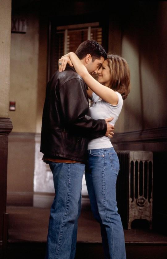 Friends characters Rachel Green and Ross Geller embracing