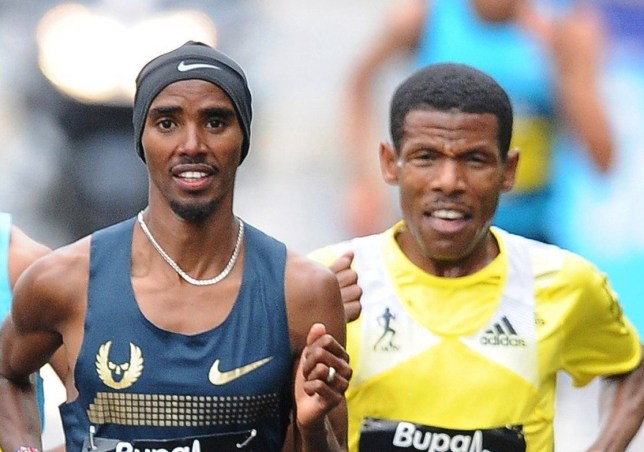 GATESHEAD, ENGLAND - SEPTEMBER 15: Kenenisa Bekele (L), Haile Gebrselassie (R) and Mo Farah race during the Great North Run on September 15, 2013 in Gateshead, England. (Photo by Nigel Roddis/Getty Images)