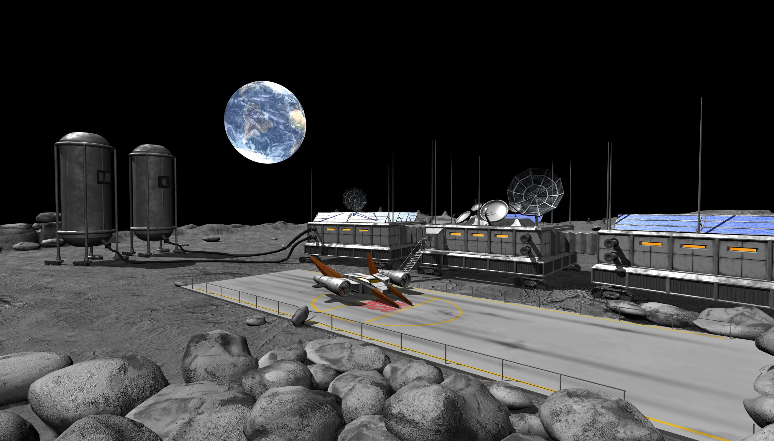 Space research camp on the moon.Rendering with maya 6.5.