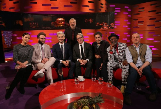 Host Graham Norton with (seated left to right) Charlize Theron, Seth Rogen, Zac Efron, Matthew Broderick, Terry Hall, Lynval, and Horace from The Specials during the filming for the Graham Norton Show at BBC Studioworks 6 Television Centre, Wood Lane, London, to be aired on BBC One on Friday evening. PRESS ASSOCIATION Photo. Picture date: Thursday April 25, 2019. Photo credit should read: PA Images on behalf of So TV