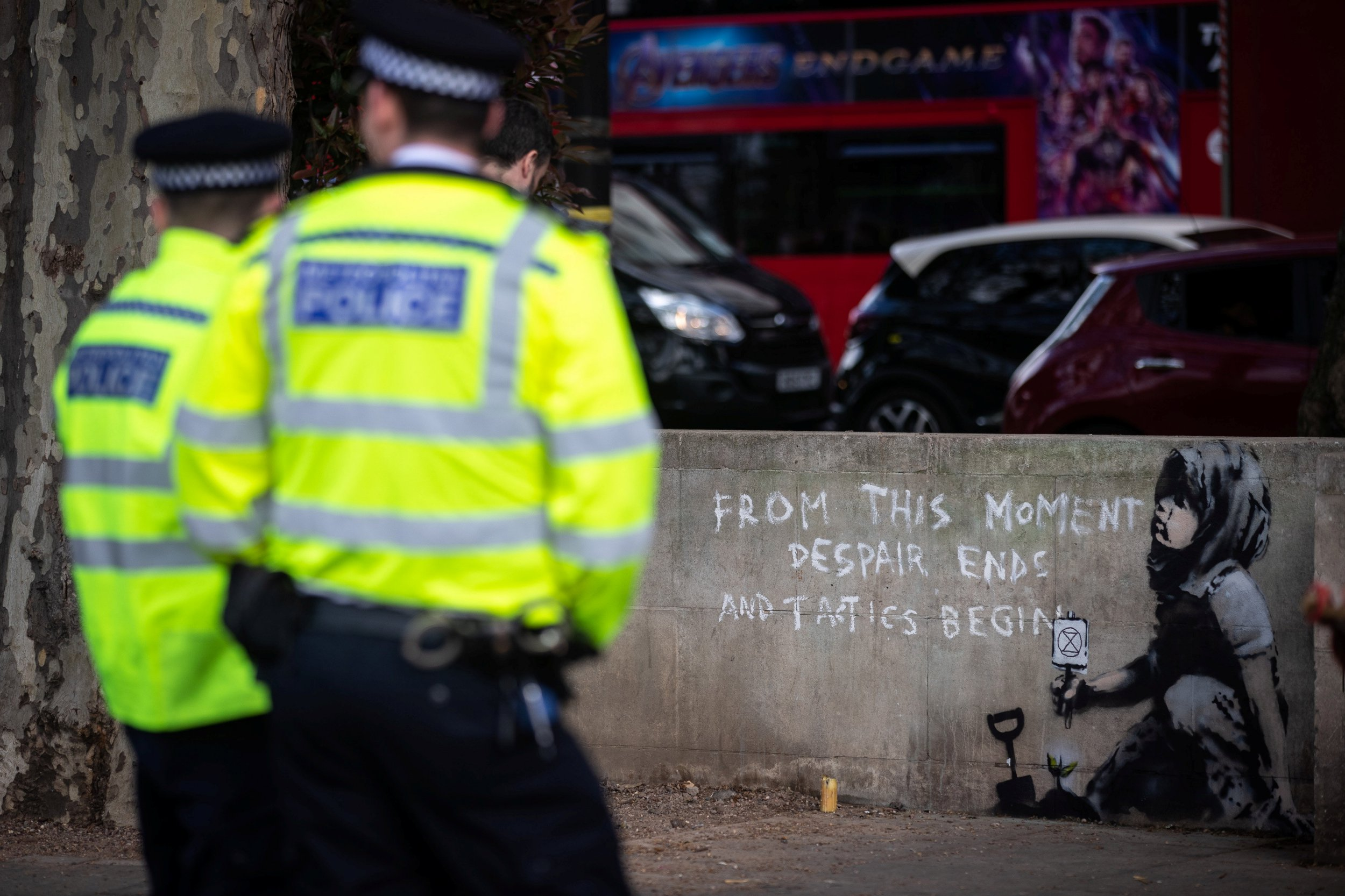 A new piece of street art believed to be by the artist known as Banksy is seen at Marble Arch, next to the site of the Extinction Rebellion protest, London, April 26 2019.