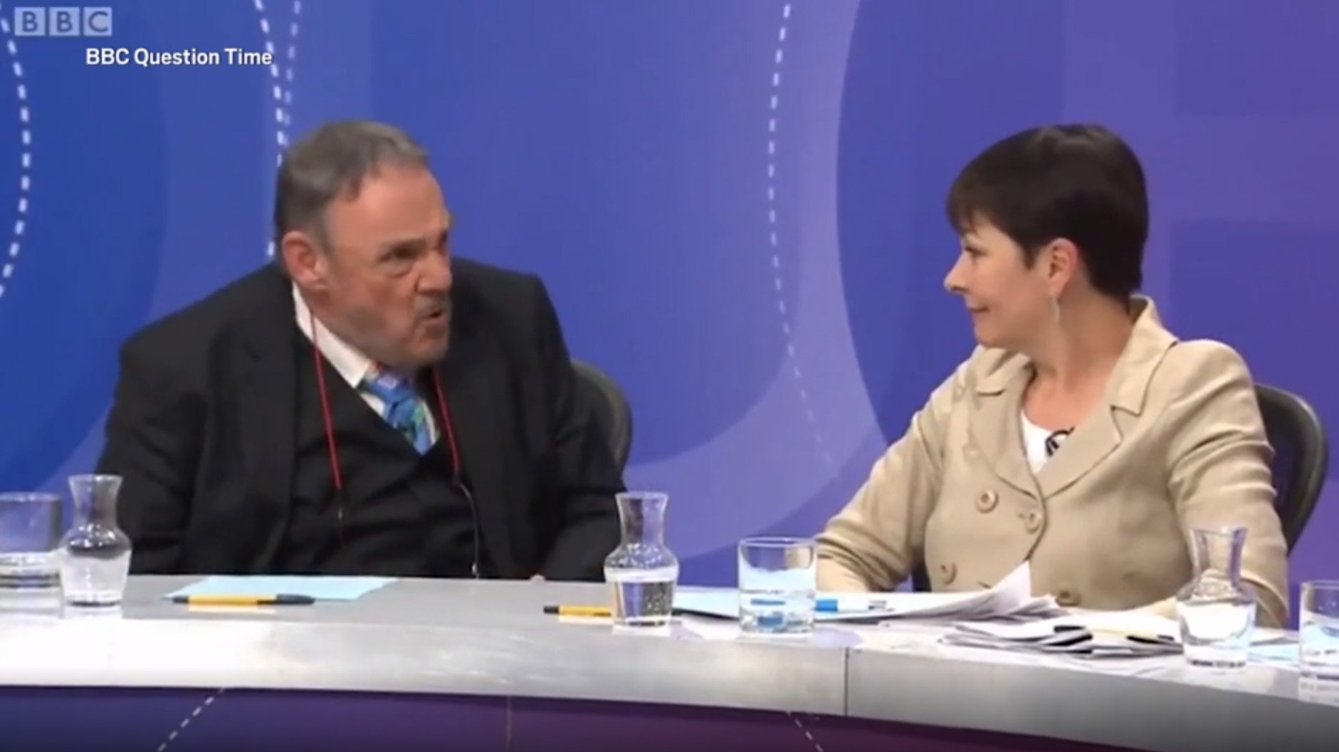 Did anyone else feel genuinely worried for Caroline Lucas in this moment? John Rhys-Davies may sound posh, but that was thuggish behaviour by anyone's definition. (sexist too) #BBCqt