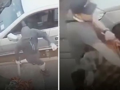 Moment Muslim mum is knocked to the ground in hate crime attack