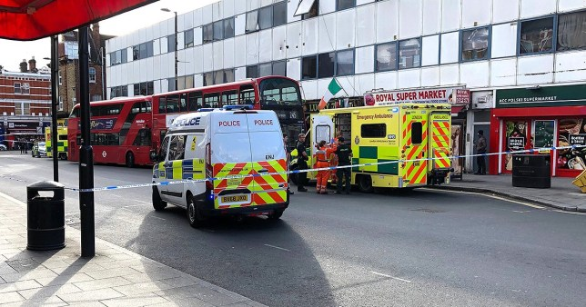 Teenage boy, 17, is stabbed 'six times' while on a bus in north-west London as police launch hunt for knifeman Picture: @Richardinlondon METROGRAB AWAITING PERMISSION VIA TWITTER GREEN LIGHT FOR OTHER PUBLICATIONS EDITORIAL DECISION https://twitter.com/Richardinlondon/status/1122183134567718914