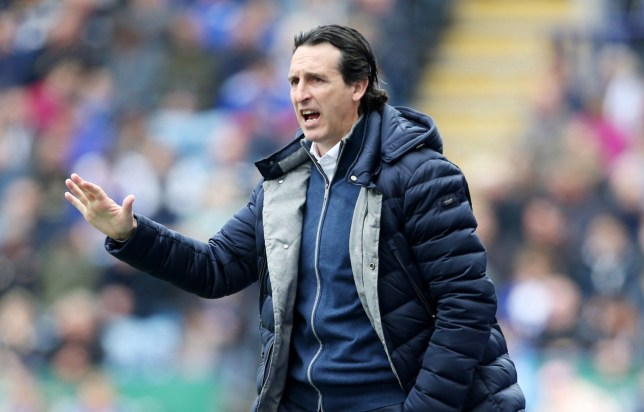 LEICESTER, ENGLAND - APRIL 28: Arsenal Manager Unai Emery during the Premier League match between Leicester City and Arsenal at The King Power Stadium on April 28, 2019 in Leicester, United Kingdom. (Photo by Plumb Images/Leicester City via Getty Images)