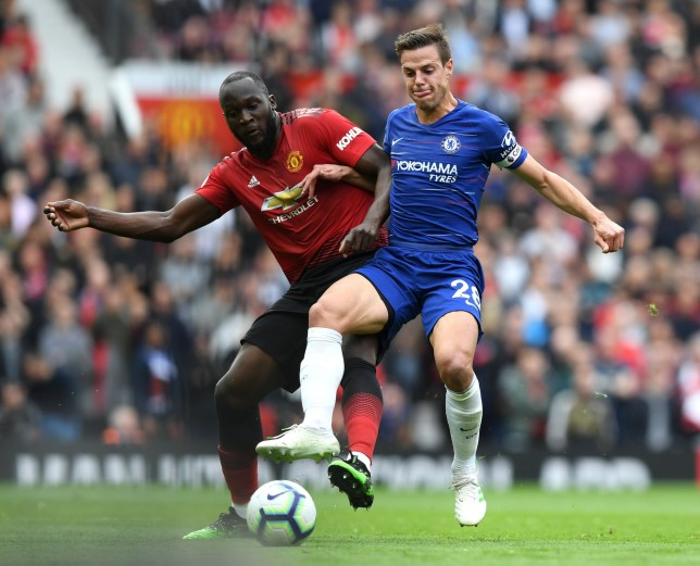 Romelu Lukaku of Manchester United battles with Cesar Azpilicueta of Chelsea during the Premier League match between Manchester United and Chelsea FC at Old Trafford on April 28, 2019 in Manchester, United Kingdom. (Photo by Darren Walsh/Chelsea FC via Getty Images)