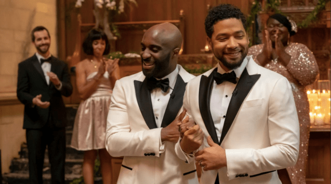Jamal played by Jussie Smollett, and Kai played by Toby Onwumere during their wedding in Empire Season 5