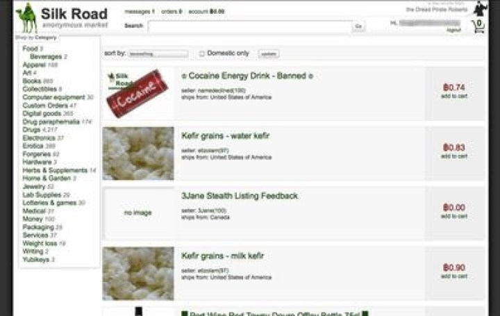 A screenshot of Silk Road, the original dark web marketplace (Image: Wikipedia)