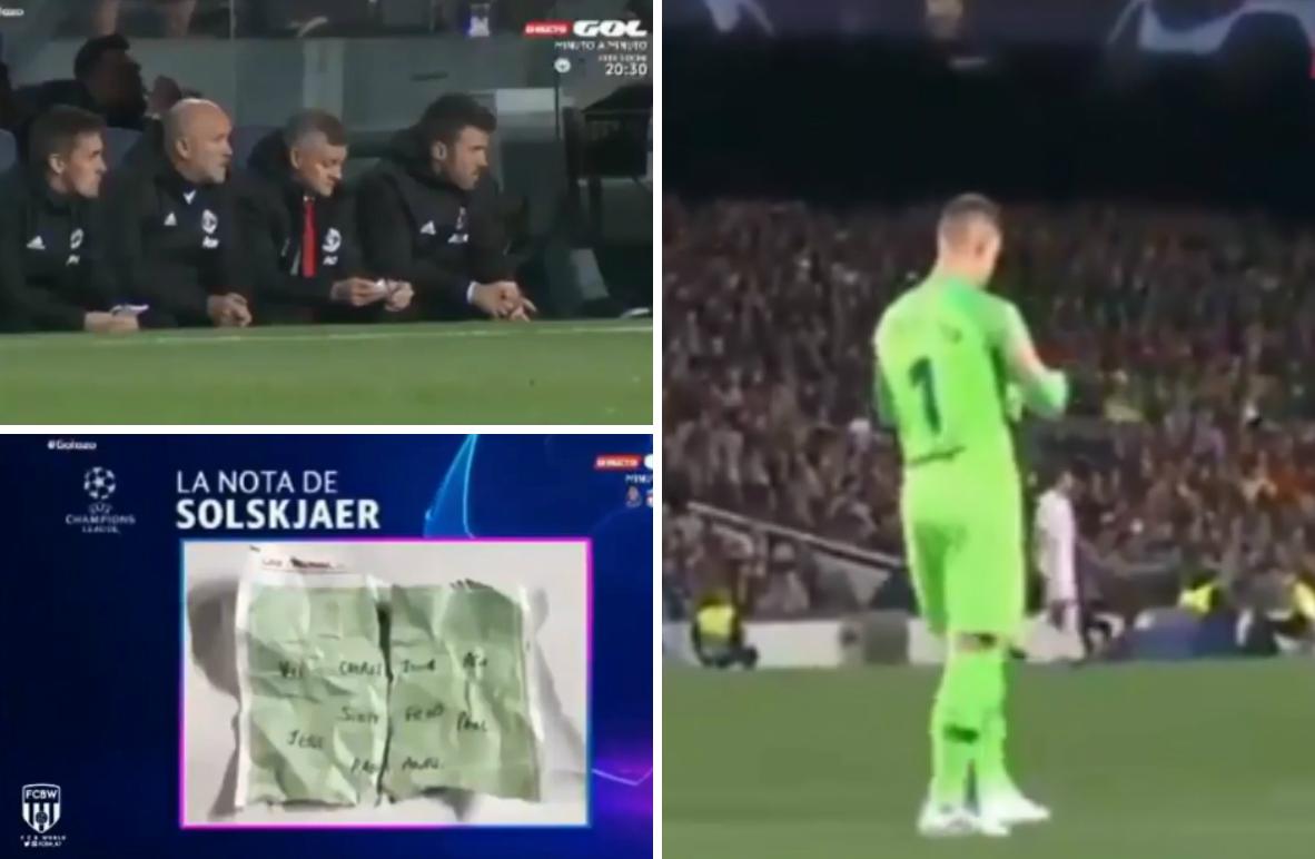 Marc-Andre ter Stegen finds Ole Gunnar Solskjaer's tactical note to Marcus Rashford mid-match