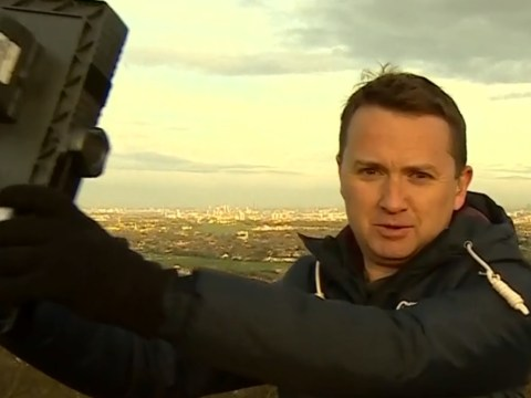 BBC weather presenter Matt Taylor seamlessly continues broadcast despite being nearly hit by equipment