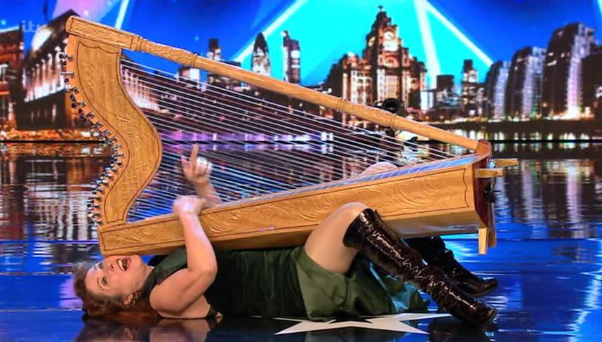 Britain's Got Talent viewers baffled after harp-straddling contestant gets standing ovation