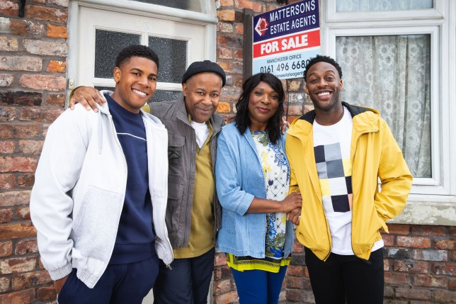 Aggie (Lorna Laidlaw), Ed (Trevor Michael Georges), Michael (Ryan Russell) and James (Nathan Graham) as The Bailey family in Coronation Street