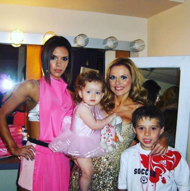 Geri Horner and Victoria Beckham in old Spice Girls tour picture