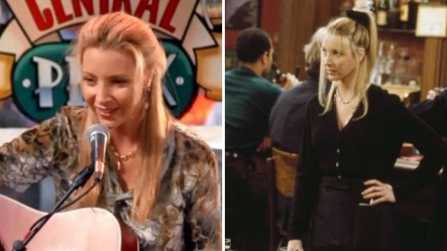 Phoebe Buffay (Lisa Kudrow) plays guitar in Central Perk and Ursula Buffay in Mad About You