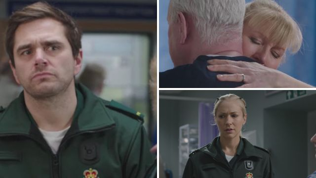 Iain struggled with his first day back in Casualty