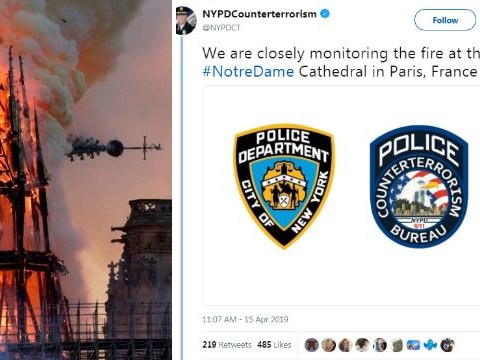 NYPD anti-terrorism unit mocked for saying they're 'monitoring' Notre-Dame fire
