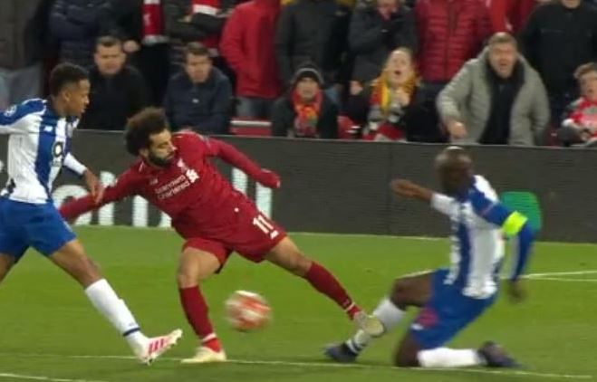 Mohamed Salah escapes red card for horror challenge against Porto