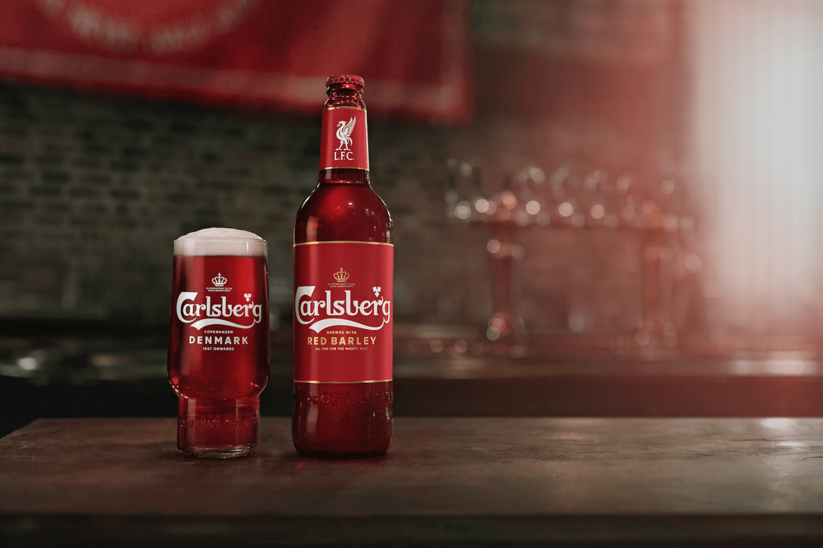 Shot of Carlsberg's red beer for Liverpool