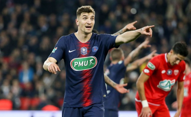 PARIS, FRANCE - FEBRUARY 26: Thomas Meunier of PSG during the French Cup (Coupe de France) quarter-final match between Paris Saint-Germain (PSG) and Dijon Football Cote-d'Or (DFCO) at Parc des Princes stadium on February 26, 2019 in Paris, France. (Photo by Jean Catuffe/Getty Images)