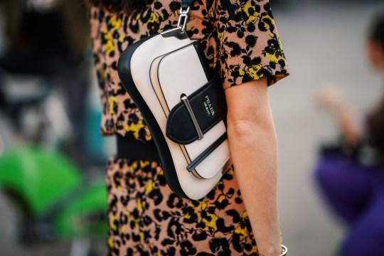 A model with a Prada bag in Paris