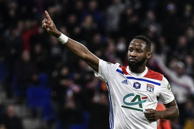 Lyon's French forward Moussa Dembele celebrates after scoring a penalty during French Cup semi-final football match between Olympique Lyonnais (OL) and Stade Rennais FC (SRFC) at the Groupama Stadium in Decines-Charpieu, near Lyon, on April 2, 2019. (Photo by JEFF PACHOUD / AFP) (Photo credit should read JEFF PACHOUD/AFP/Getty Images)
