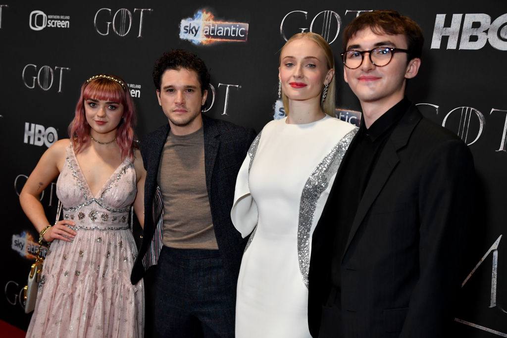 Game Of Thrones stars Isaac Hempstead Wright, Maisie Williams, Kit Harington and Sophie Turner