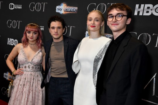Game Of Thrones stars Isaac Hempstead Wright, Maisie Williams, Kit Harington and Sophie Turner