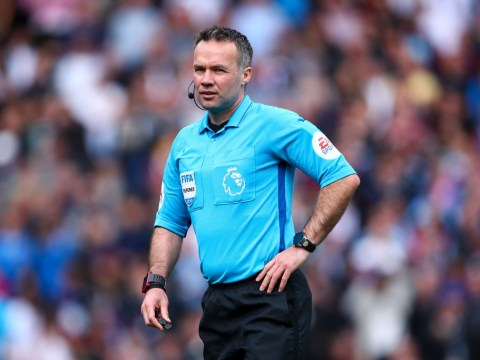 Who is the referee for the Championship play-off final and what are his stats?