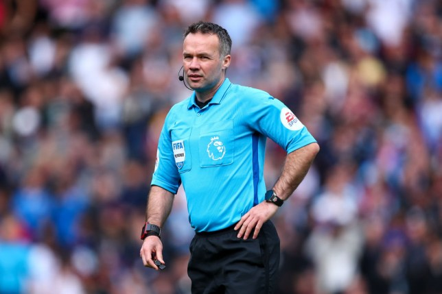 Referee Paul Tierney during Burnley vs Manchester City in the Premier League