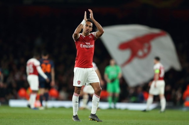 LONDON, ENGLAND - MAY 02: Pierre-Emerick Aubameyang of Arsenal at full time of the UEFA Europa League Semi Final First Leg match between Arsenal and Valencia at Emirates Stadium on May 2, 2019 in London, England. (Photo by James Williamson - AMA/Getty Images)