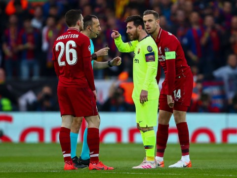 Liverpool's Andy Robertson should have been sent off for Lionel Messi incident against Barcelona, says ex-referee