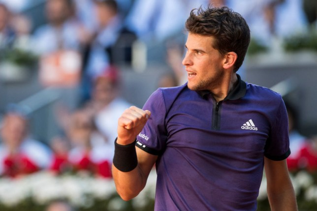Dominic Thiem celebrates a point with a fist pump during his win against Roger Federer