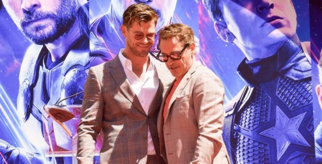 Chris Hemsworth and Robert Downey Jr. at Avengers: Endgame event