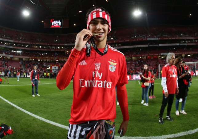 LISBON, PORTUGAL - MAY 18: Joao Felix of SL Benfica celebrates after winning the Liga NOS Championship at the end of the Liga NOS match between SL Benfica and CD Santa Clara at Estadio da Luz on May 18, 2019 in Lisbon, Portugal. (Photo by Gualter Fatia/Getty Images)
