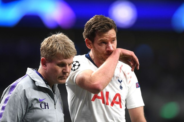 Jan Vertonghen had to be replaced towards the end of the first half