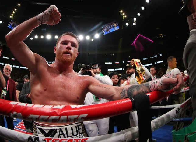 Canelo celebrates after his win over Jacobs