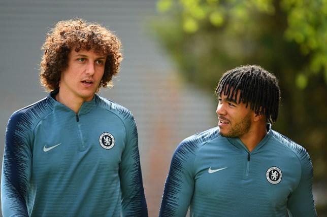 Chelsea starlet Reece James, right, with first-team regular David Luiz