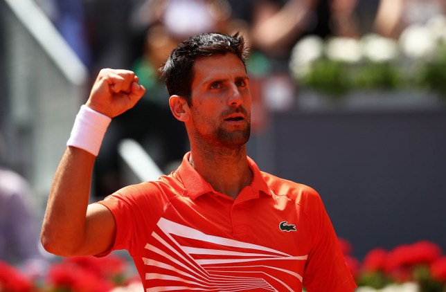Novak Djokovic pumping his fist during his Madrid Open win against Jeremy Chardy